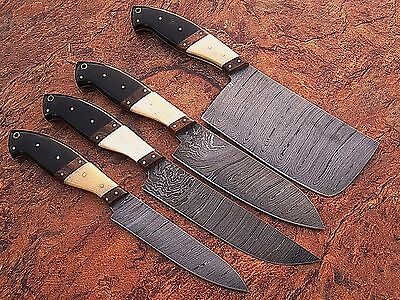 GladiatorsGuild Damascus Knife Larder Custom Professional 4pc Chef Knife Set 10