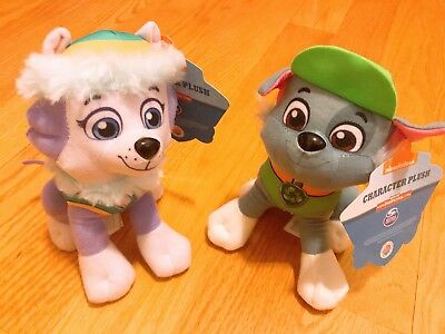 "Set of 2 Nickelodeon Paw Patrol Character Puppy Dog 8"" Plush Doll Rocky Everest"