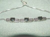 JTV Synthetic Blue Spinel /& White Cubic Zirconia Rhodium Over Sterling Silver Bolo Bracelet