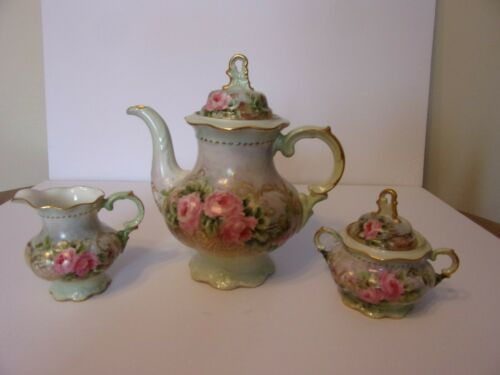 BEAUTIFUL PORCELAIN TEA SET TEAPOT SUGAR & CREAMER LOVELY PINK ROSES GERMANY