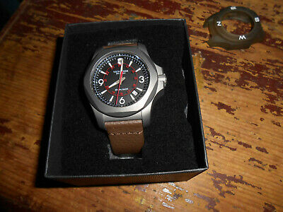 VICTORINOX INOX TITANIUM BLACK DIAL NEW IN BOX BROWN LEATHER BAND