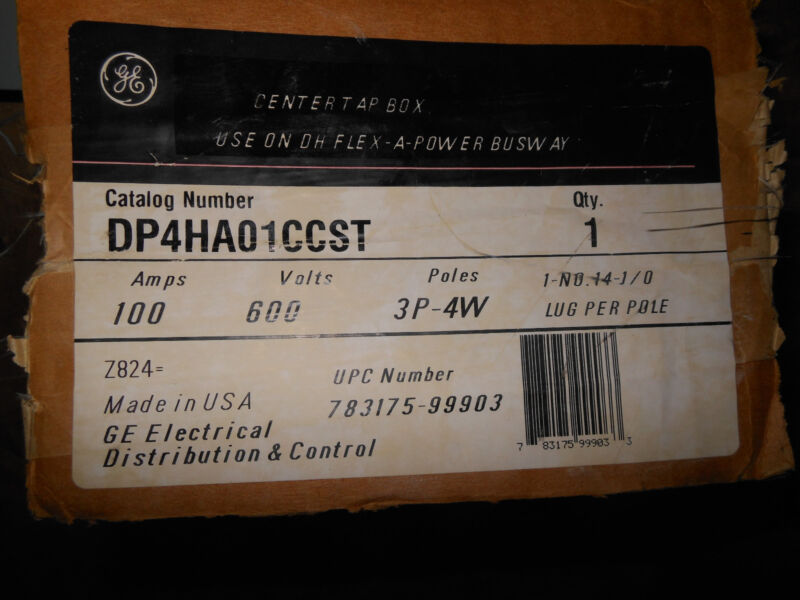 Ge  Dp4ha01ccst 100amp 600v  3phase 4 Wire Dh Busway End Tap Box 1yr Warranty