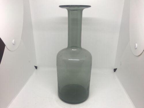 """Vintage mid century Holmegaard Gulvase Otto Bauer Smokey grey glass vase 12"""""""