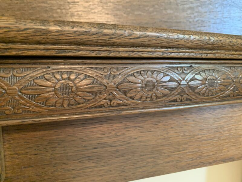 "Hand Carved Antique Quartersawn Oak Fireplace Mantle 54""w x 65""h X 10""d"