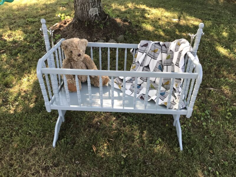 Vintage Wood Jenny Lind Swinging Cradle Baby Bed Crib Bassinet