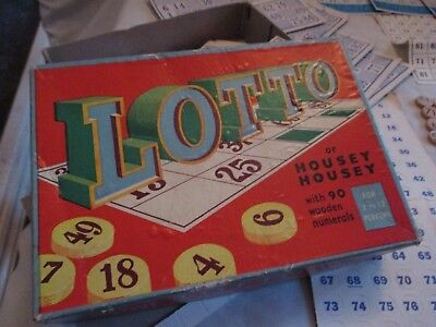 Vintage LOTTO or HOUSEY HOUSEY with 90 Wooden Numerals Family Game