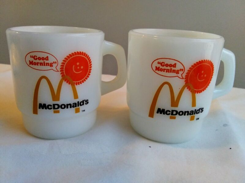 Lot Of 2 McDonalds Good Morning Sunshine Coffee Mug Cup Anchor Hocking Fire King
