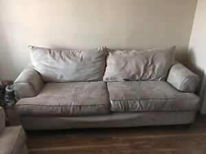 2 suede beige couches for sale