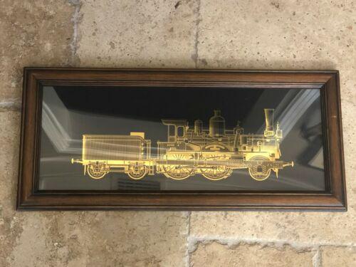 Vintage Train Brass Cut Gold Locomotive Art Framed Engine Ateliers French