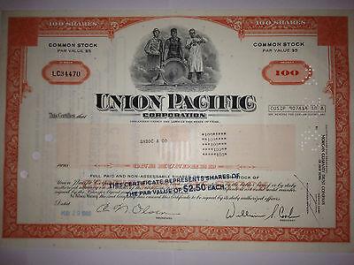 Union Pacific Railroad Corporation original historic stock certificate