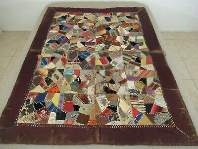 VERY DAMAGED Antique Silk Or Satin CRAZY QUILT, Many Feather Stitching Patterns