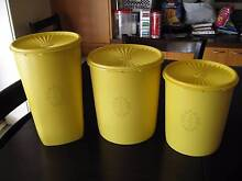 BULK VINTAGE Retro Tupperware SERVALIER PRESS SEAL Yellow Cannist Haberfield Ashfield Area Preview