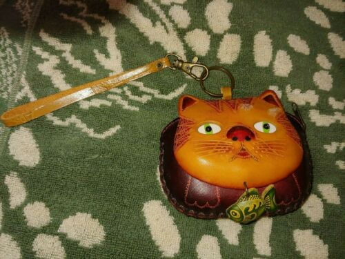Hand Tooled Vintage Leather Wristlet Purse Kitty Cat Face w/ Fish Ecuador? NICE