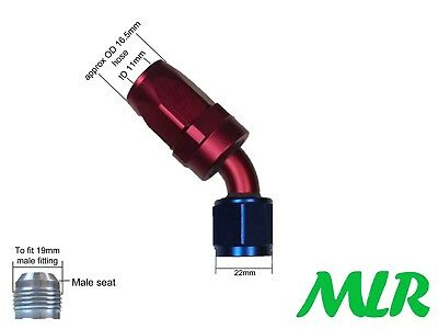 MLR AN -8 JIC 45° DEGREE RED BLUE OIL COOLER REMOTE FILTER HOSE PIPE FITTING