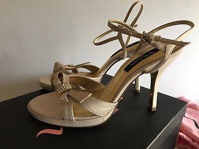 Special Ocassion Shoes (NINA POWDER SAND  SATIN WEDDING SPECIAL OCASSION HEELS STRAPPY SHOES 7.5 M)
