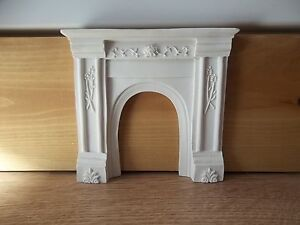 Dolls House Miniatures 1/12th White Resin Arched Fireplace DF702 New