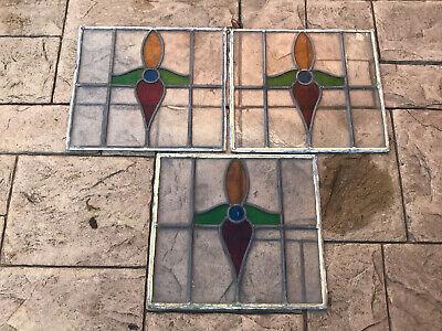 3 Antique Vintage Orginal Leaded Stained Glass Window Panels Art Nouveau