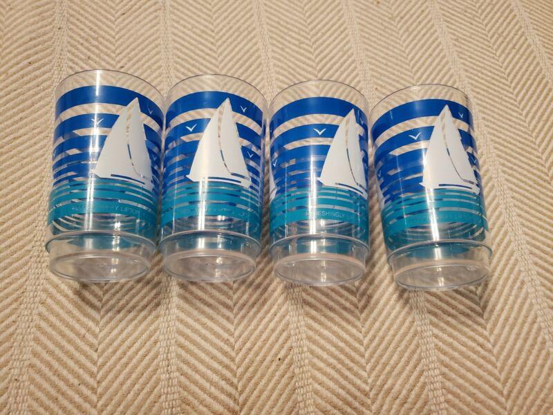 4 Refreshingly Lipton Iced Tea Cups, Plastic Glasses, Sailboat