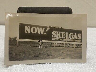 Vintage Original Photo Skelgas Billboard With Man Black White