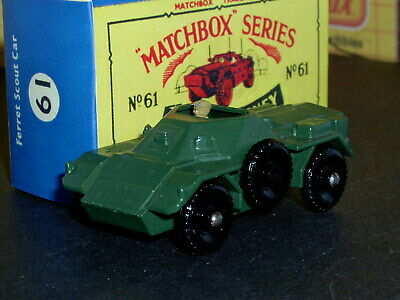 Matchbox Moko Lesney Daimler Ferret Scout Car 61 a1 D-R SC3 VNM & crafted box