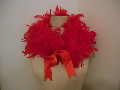 """Red Feather Boas w/ Red Ribbon Tie - Costume, Flapper, Burlesque-24"""" long"""