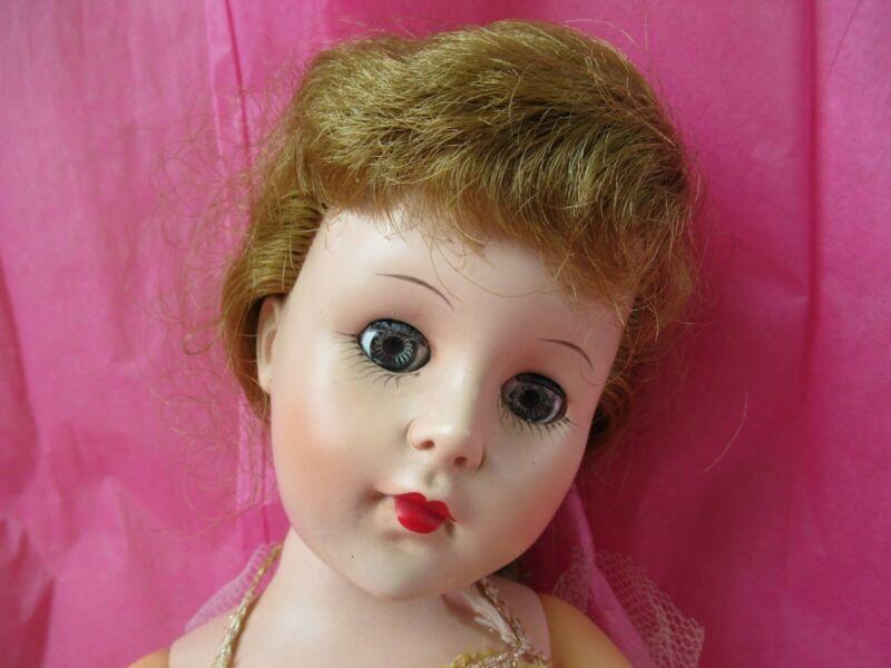 """VTG 18"""" 1950s Hard Plastic Jointed BALLERINA DOLL With Dress - lovely hairdo!"""