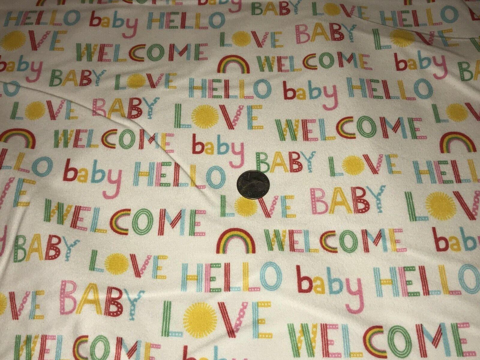 Fabric Baby Welcome Home Words Rainbows on White Kaufman ...