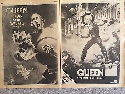 QUEEN ~ news of the world + flash gordon ORIGINAL NME FULL PAGE PROMO ADVERTS