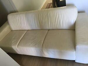 Cream Leather Couch Lane Cove Lane Cove Area Preview