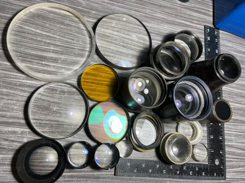 Large Lot of Concave & Convex Lenses Military, Optic Lab & Unusual Types