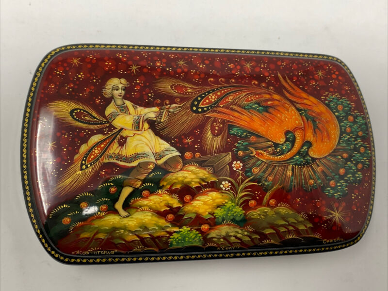 Russian Lacquer box From The Village Of Kholui. Catching The Firebird. 5x3