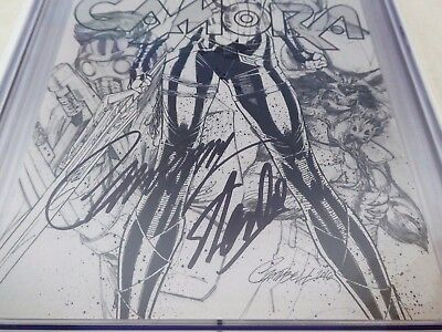 Gamora #1 Dual Signature Autograph STAN LEE CHRIS CAMPBELL Variant Edition Sketc 3