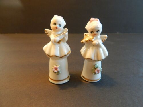 Set of 2 Vintage Angel Thimbles with Flowers and Musical Instruments