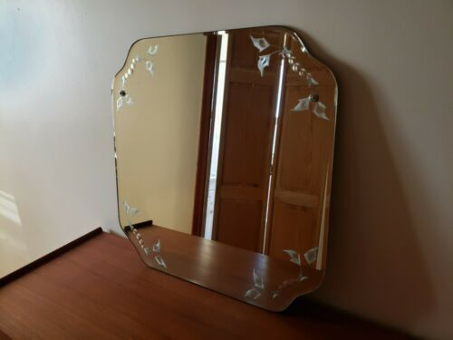 Antique Frameless Beveled Etched Floral Glass Mirror - Wall Hanging Art Nouveau
