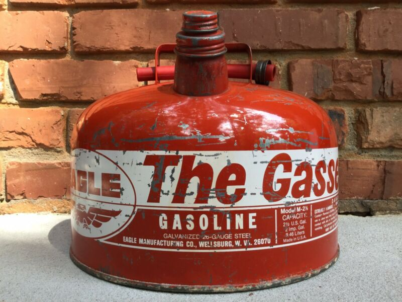 Vintage Eagle Mr Gasser Gasoline Can Model M2 1/2 / 2-1/2 Gallon Gas Made in USA