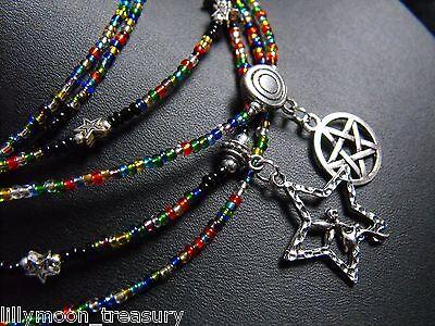 Glass beaded collar choker necklace RAINBOW blue black unisex pentacle fairy -