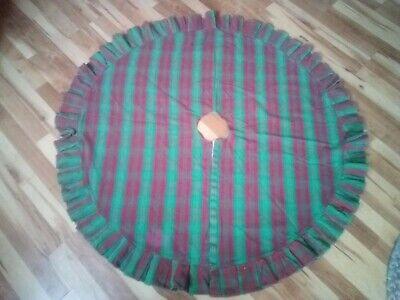 "Vintage Christmas Tree Skirt Red Green Ruffle Edge 50"""