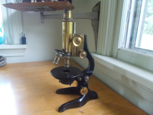 ANTIQUE 1920s ERNST WETZLAR BRASS MICROSCOPE