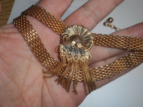 Vintage Art Deco Victorian revival Choker Gold Mesh tassel  Rhinestone Baquettes