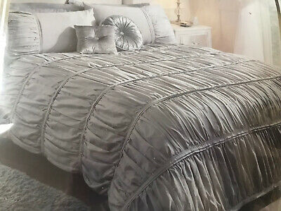 Grey Silver Double Duvet Set Bed Set Karina Bailey Lulu Crinkle Cut Brand New