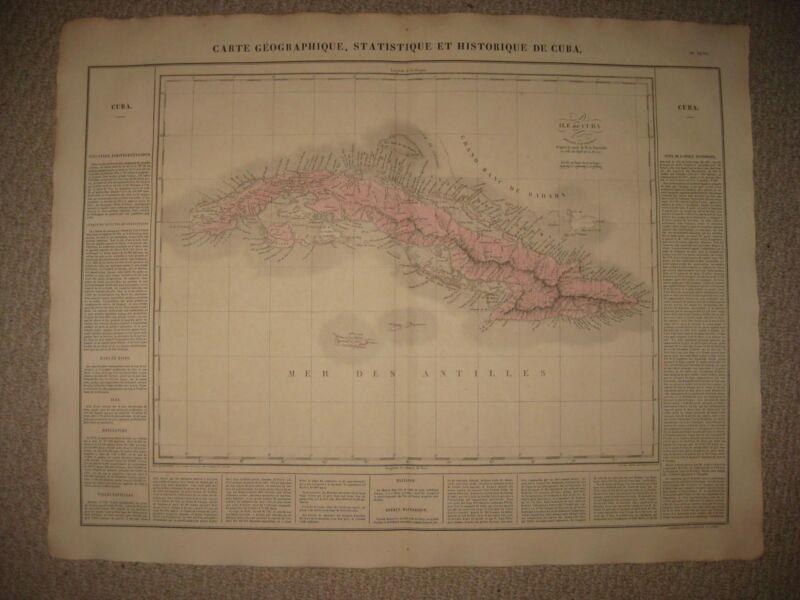 HUGE IMPORTANT ANTIQUE 1825 CUBA WEST INDIES CARRIBBEAN CAREY & LEA HANDCOLR MAP