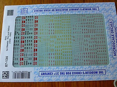 Microscale Decal HO  #87-134  Diesel - All Builders - Data - Red & Yellow letter