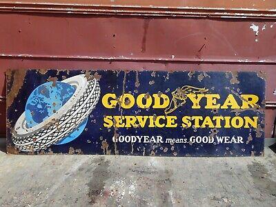 Original Goodyear Tires Service Station Porcelain Sign 6FT X2 FT