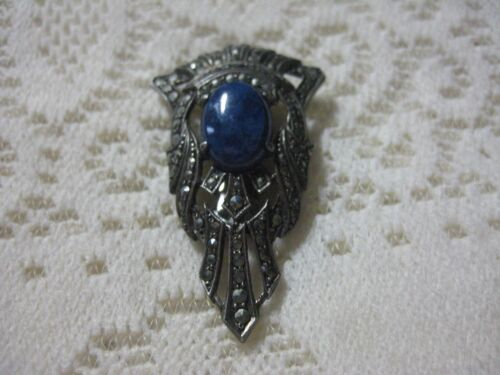 ART DECO Sterling Silver Lapis Lazuli and  Marcasite Dress Clip Stunning Beauty