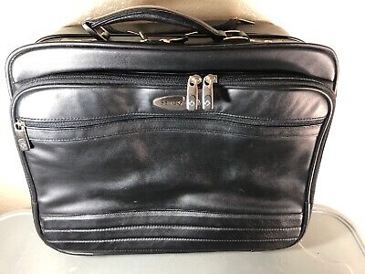 Samsonite Leather Rolling Wheeled Carry On Black Briefcase Laptop Travel Bag