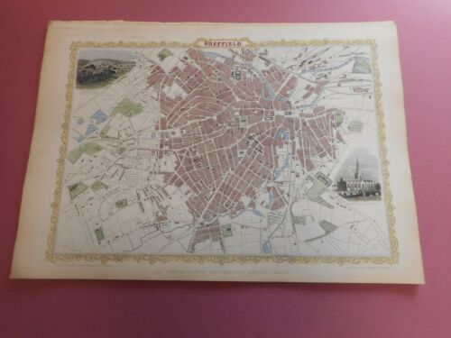 100% ORIGINAL LARGE SHEFFIELD MAP BY J TALLIS C1858 VGC HAND COLOURED