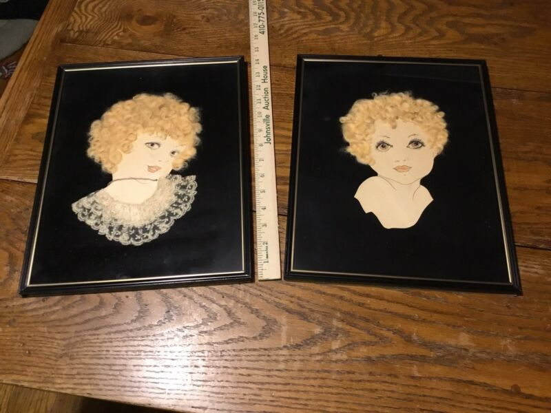 2+Vintage+Paper+PINUP+ARTWORK+Real+BLONDE+HAIR+LACE+Necklace+Sultry+Flapper+Girl