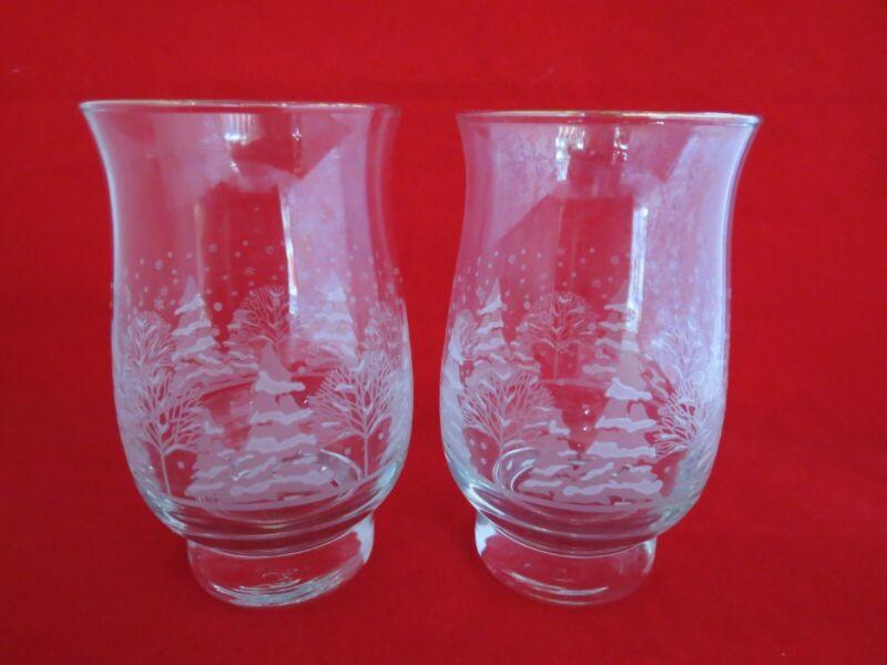 Libbey Arby's Winter Scene Tumblers Glasses 2 Tulip Shape 12 oz Vintage