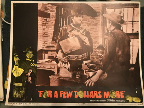 """For A Few Dollars More 1967 United Artists 11x14"""" western lobby card Clint Eastw"""