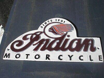 INDIAN MOTORCYCLES Cast Sign Vintage Garage Sign in Cast Metal BIG CHIEF 1901